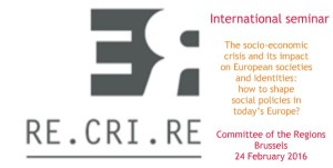 International seminar of Re.Cri.Re project in Brussels on 24 February 2016 – Save the date!