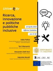 UniverS/City. Research, social innovation and inclusive public policies – Lecce, 22 April 2016